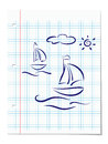 Summer holiday concept hand drawing of boats ocean waves and sun at lined notebook paper sheet vector eps illustration Stock Photography