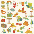 Summer holiday doodle collection Stock Photo