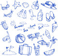 Summer holiday doodle icon and leisure sport item and marine ani Royalty Free Stock Photo