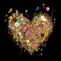 Summer holiday, heart shape with design elements Royalty Free Stock Photo