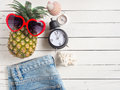 Summer holiday  items,Beach accessories top view. Royalty Free Stock Photo