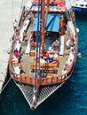 Holiday makers on Santorini day Cruise Boat, Greece Royalty Free Stock Photo