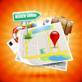 Summer holiday paper map on orange background poster Royalty Free Stock Photography