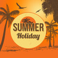 Summer holiday poster with beautiful sunset seaside and palms vector illustration Royalty Free Stock Image
