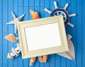 Summer holiday poster frame mock up template with decorations. Royalty Free Stock Photo