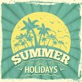 Summer holiday poster vacation travel background with sunset and palm trees vector illustration Stock Images