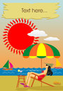 Summer holiday on the seaside this image has vector editable copy Royalty Free Stock Photos