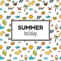 Summer holiday. Summer tropical vacation background. Cute hand d Royalty Free Stock Photo