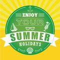 Summer holiday and travel label.