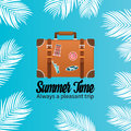 Summer holiday vacation concept, Trunk and Calligraphy flat illustration
