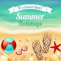Summer holiday vacation travel background poster with beach accessories sunglasses sandals and starfish vector illustration Stock Image