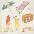 Summer holiday vector hand drawn icons illustration eps Stock Photos