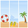 Summer holiday vertical banners a collection of three summertime with a lifebuoy flip flops and a tropical beach with a palm tree Royalty Free Stock Photography