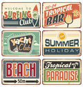 Summer holiday vintage sign boards collection Royalty Free Stock Photo