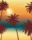 Summer holidays background. Exotic landscape with palm trees. Vector