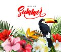 Summer holidays background with tropical flowersand a Toucan. Lettering Hello summer Template Vector.