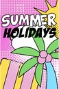 Summer holidays banner, bright retro pop art style poster with summer nature floral elements vector Illustration Royalty Free Stock Photo