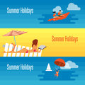 Summer Holidays Banner with Sexy Girl on Beach. Royalty Free Stock Photo
