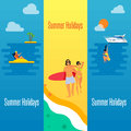 Summer Holidays Banner with Young Couple on Beach Royalty Free Stock Photo
