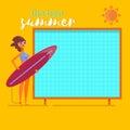 Summer holidays beach background poster.Summertime traveling template Flat vector illustration