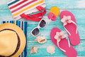 Summer Holidays in Beach Seashore. Fashion accessories summer flip flops, hat, sunglasses on bright turquoise board near the pool Royalty Free Stock Photo