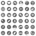Summer holidays button set seaside beach monochrome gray little with light shadow on white background vector isolated elements Stock Image
