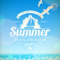 Summer holidays emblem seagulls against sunny seascape background Stock Photography