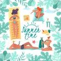 stock image of  Summer holidays frame illustration