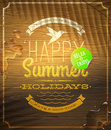 Summer holidays greeting emblem and sticker on a vintage wooden surface Stock Photo