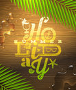 Summer holidays greeting type design painted on wooden surface and palm tree branches Stock Photo