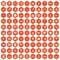 100 summer holidays icons hexagon orange