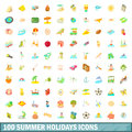 100 summer holidays icons set, cartoon style Royalty Free Stock Photo
