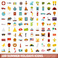 100 summer holidays icons set, flat style Royalty Free Stock Photo