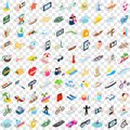 100 summer holidays icons set, isometric 3d style Royalty Free Stock Photo