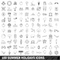 100 summer holidays icons set, outline style