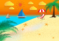 Summer holidays illustration. Beach Seashore. Vector background