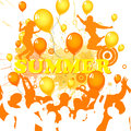 Summer holidays illustration of dancing people silhouettes on a colorful party background Royalty Free Stock Images