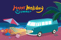 Summer holidays illustration flat design night beach and mini bus concept Royalty Free Stock Photography
