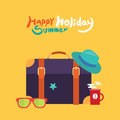 Summer holidays illustration flat design traveling bag and object concept Stock Photography