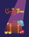 Summer holidays illustration flat design traveling bag and object concept Royalty Free Stock Image