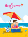 Summer holidays illustration flat design treasure boy and beach concept Royalty Free Stock Photo