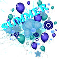 Summer holidays illustration of flying balloons on a colorful background Stock Images