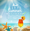 Summer holidays illustration greeting lettering tropical resort symbols sunny beach Royalty Free Stock Photos
