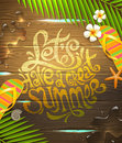 Summer holidays illustration hand drawn lettering design painted on wooden surface Royalty Free Stock Photography