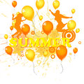 Summer holidays illustration of jumping teenager silhouettes on a colorful background Royalty Free Stock Images