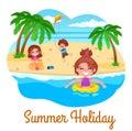 Summer holidays illustration. kids on the beach.