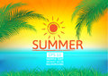 Summer holidays illustration, summer background with copy space