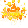 Summer holidays illustration of a wakeboarder on an abstract background Royalty Free Stock Images
