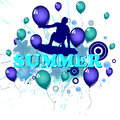 Summer holidays illustration of a wakeboarder on an abstract background Royalty Free Stock Image