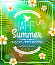 Summer holidays lettering emblem frangipani flowers against tropical forest background Royalty Free Stock Photography